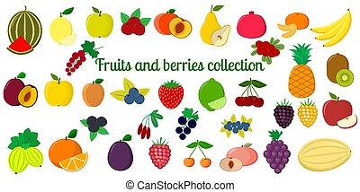 vettore, appartamento, set, mega, frutte, sei, quaranta, illustrazione, tuo, fondo., elementi, disegno, crafting., scrapbooking, bianco, bacche, disegno, cartelle, collezione, icona