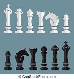 vettore, appartamento, set, scacchi, icone