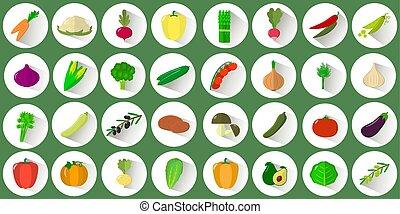 vettore, appartamento, stile, set, collettivo, mega, erbe, verdura, farm., fondo., cerchio, vario, verde bianco, uggia, logotipo, icona
