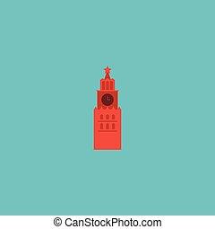 vettore, appartamento, usato, essere, cremlino, isolato, illustrazione, cremlino, fondo., symbols., lattina, pulito, icona, mosca, element., architettura