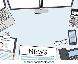 vettore, appartamento, vista, set, ufficio affari, cima, moderno, illustrazione, laptop, oggetti, disegno, fondo, digitale, workspace., scrivania, mercati, congegni
