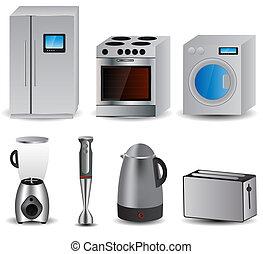 vettore, appliances., famiglia, set, illustrazione
