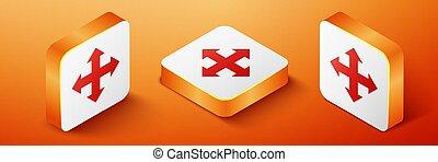 vettore, arancia, isolato, indicazione, isometrico, icona, quadrato, quattro, button., fondo., frecce