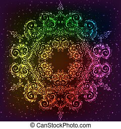 vettore, arcobaleno, mandala, neon, ornare