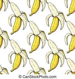 vettore, artistico, frutta, mano, isolato, disegnato, oggetto, bianco, pattern., estate, seamless, buccia, banana, fondo.