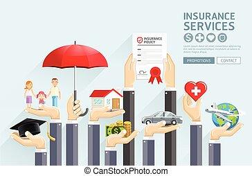 vettore, assicurazione, services., mani, illustrations.