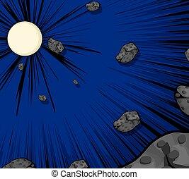 vettore, asteroidi, fondo, luna