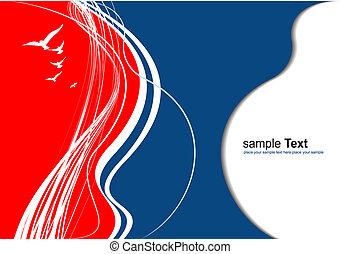 vettore, astratto, blu, rosso, colorato, illustrazione, fondo.