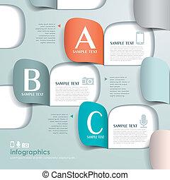 vettore, astratto, carta, infographics, origami, 3d