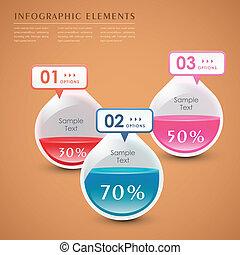 vettore, astratto, goccia, 3d, infographics