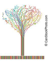 vettore, astratto, lines., albero, colorito