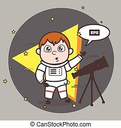 vettore, astronauta, telescopio, illustrazione, cartone animato