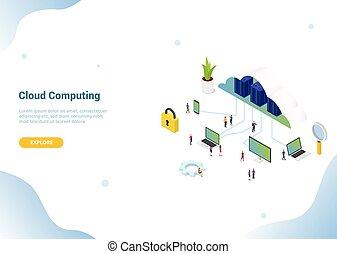 vettore, atterraggio, homepage, -, isometrico, o, sito web, nuvola, bandiera, calcolare, sagoma, concetto, 3d