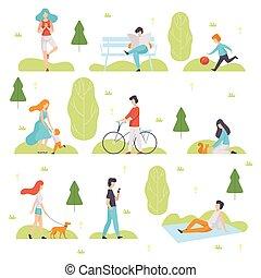 vettore, attività, camminare, rilassante, persone, uomini, ozio, sport, parco, esterno, illustrazione, fuori, godere, natura, donne