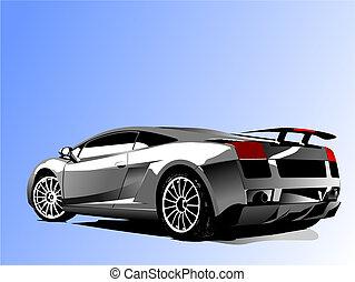 vettore, automobile, concept-car, mostra, illustrazione
