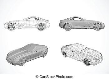 vettore, automobile, progetto serie, illustrazione