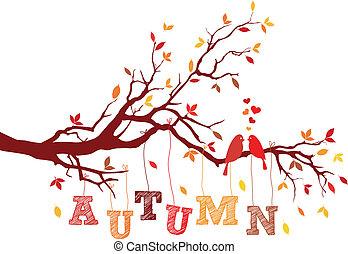 vettore, autunno, ramo albero