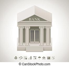 vettore, banca, icona