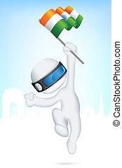 vettore, bandiera, indiano, uomo, 3d