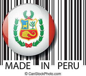 vettore, barcode., fatto, perù, illustrazione