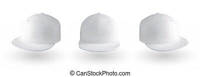 vettore, berretto, mockup, trasparente, baseball, fondo., isolato