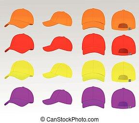 vettore, berretto, set, baseball, colorito