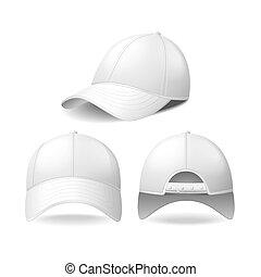 vettore, bianco, berretto, baseball, isolato