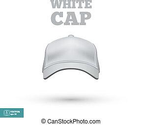 vettore, bianco, berretto, isolato, white.
