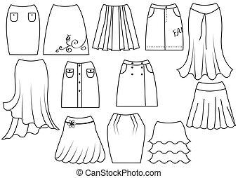 vettore, bianco, donna, moda, gonne