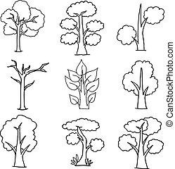 vettore, bianco, set, illustrazione, albero