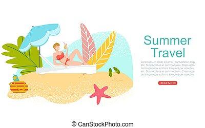 vettore, bikini, mare, spiaggia, cartone animato, viaggiare, isole, web, appartamento, donna, estate, bandiera, vacanza tropicale, illustration., coctail