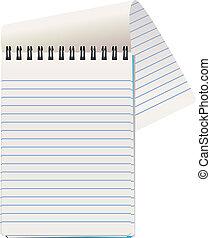 vettore, blocco note, illustrazione