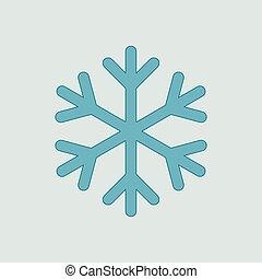 vettore, blu, fiocco di neve, isolato, icona