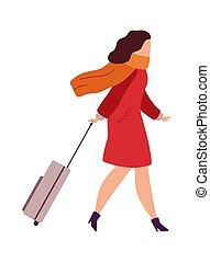 vettore, boarding., femmina, andare, va, bianco, terminal., isolato, carattere, aeroporto, aereo, vacation., illustrazione, fondo, passeggero, valigia, donna, appartamento