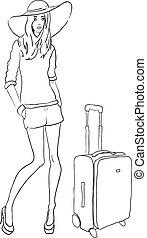 vettore, borsa, schizzo, moda, donna