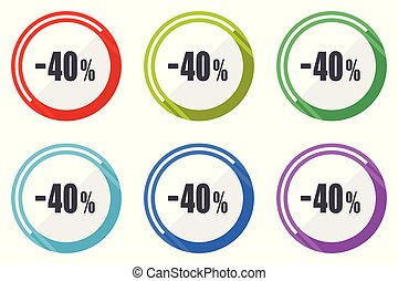 vettore, bottoni, smartphone, set, colorito, icone, redigere, editable, collezione, percento, vendita, 40, domanda, computer, appartamento, web, facile, segni, cerchio, vendita dettaglio, rotondo