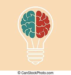 vettore, brain., bulbo, luce, eps10, illustrazione
