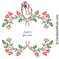 vettore, branch., fiore, uccello, seduta
