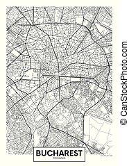 vettore, bucharest, città, dettagliato, mappa, manifesto