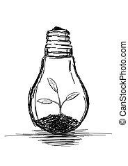 vettore, bulbo, crescente, illustrazione, pianta, luce, -
