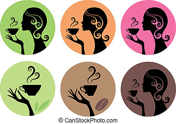 vettore, caffè, donna, tè