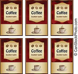 vettore, caffè, etichette