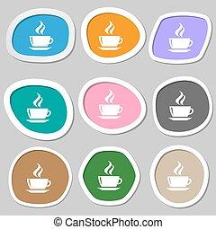 vettore, caffè, symbols., variopinto, carta, tè, stickers., icona