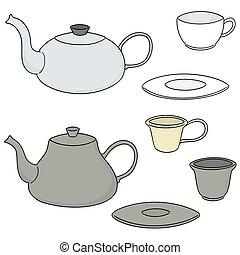 vettore, caffè tè, set, o