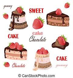 vettore, cakes., collezione, illustration.