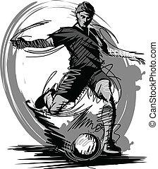 vettore, calciare, palla calcio, giocatore