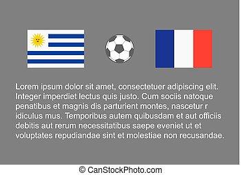 vettore, calcio, 1/4, uruguay, -, bandiera, stackman, football, custodire, quarto, vs, fondo, uomo, francia, finale, felice
