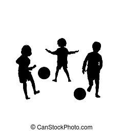 vettore, calcio, bambini