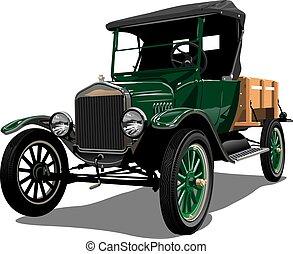 vettore, camion, retro