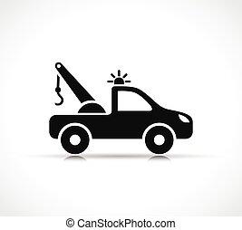 vettore, camion, simbolo, rimorchio, icona